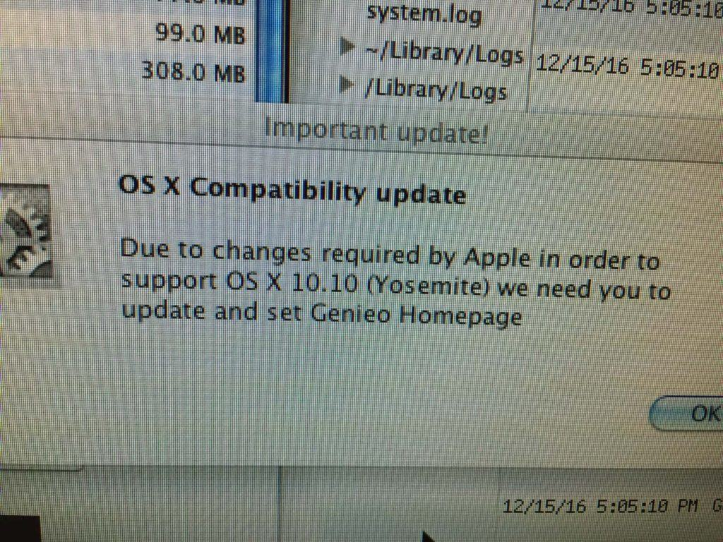 Update Geneio on Mac Dialog box