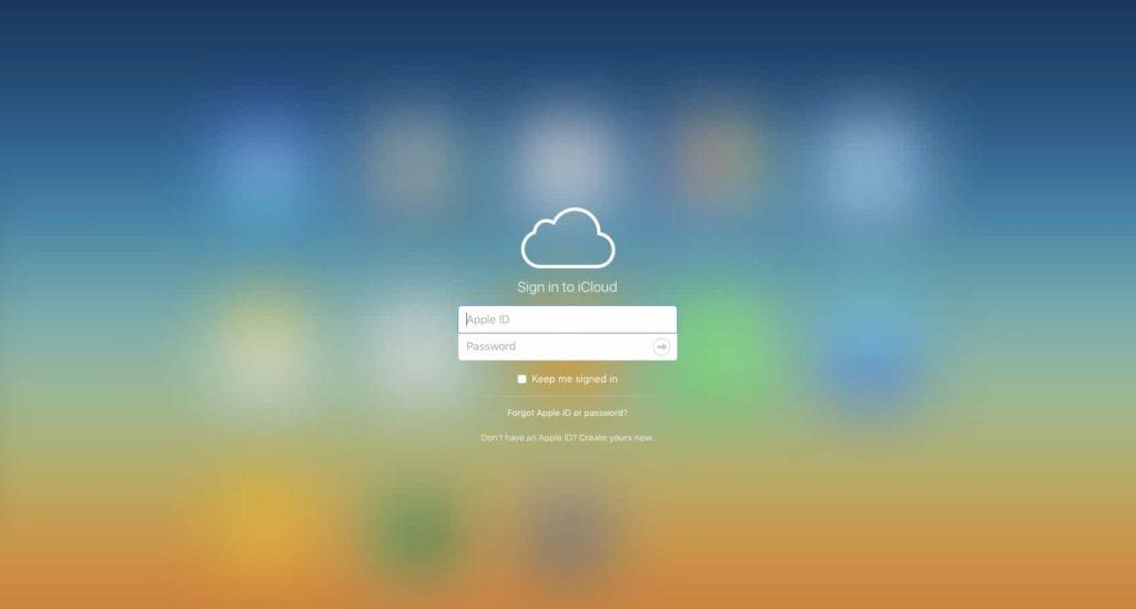 iCloud Login Window for find my iPhone