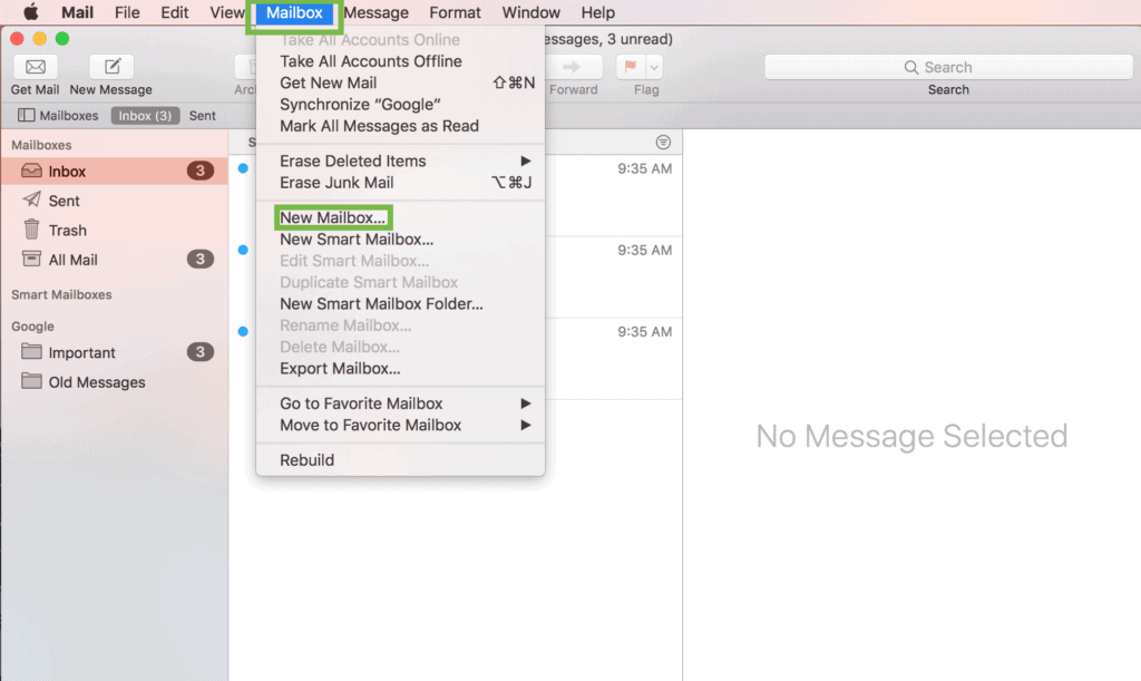 Mailbox menu item with New Mailbox highlighted