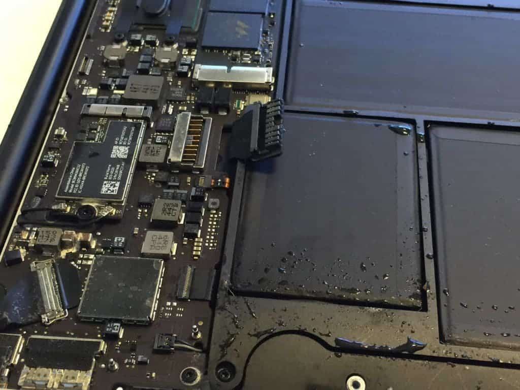Inside of MacBook Air with water droplets