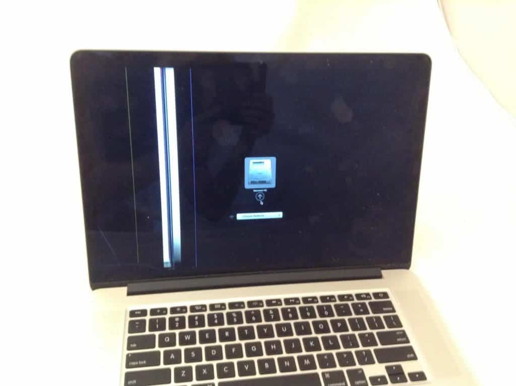 MacBook Pro with vertical lines on left side
